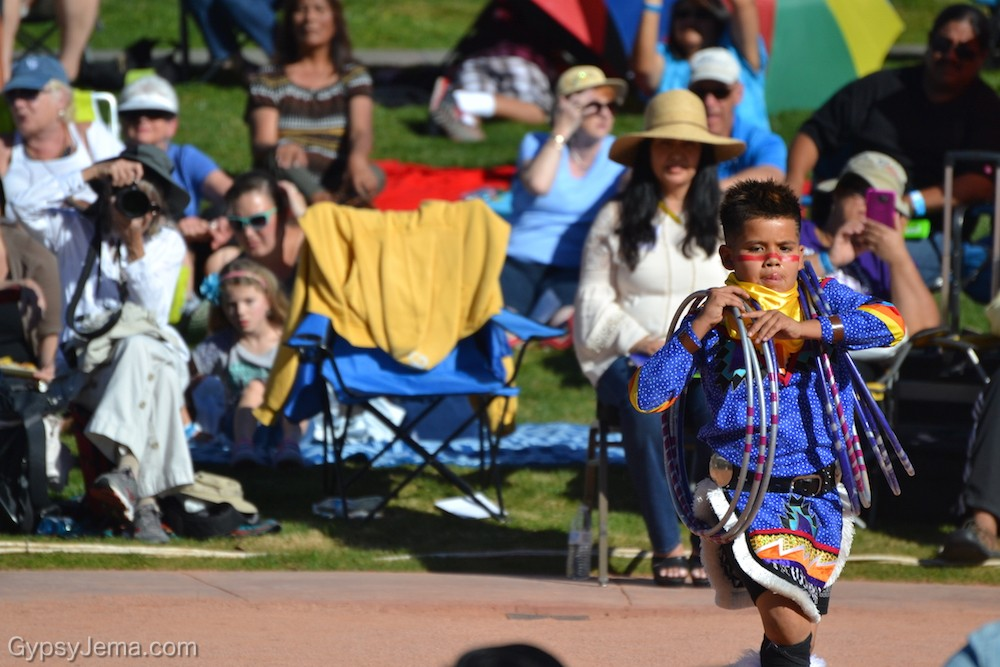 Boy dressed in blue at World Championship Hoop Dance Contest