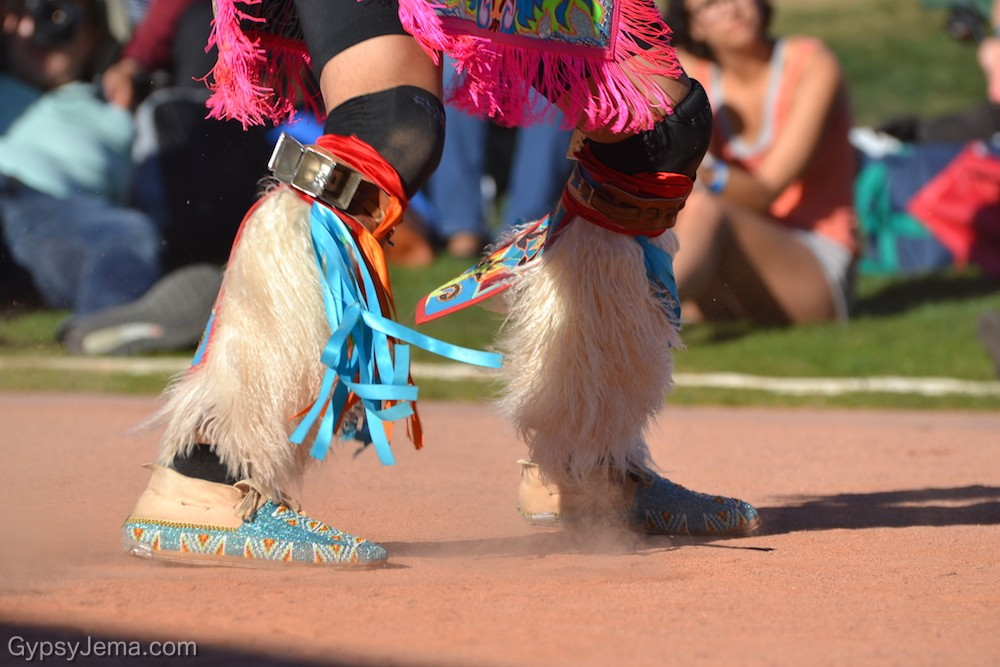 Close up of native shoes during World Championship Hoop Dance Contest
