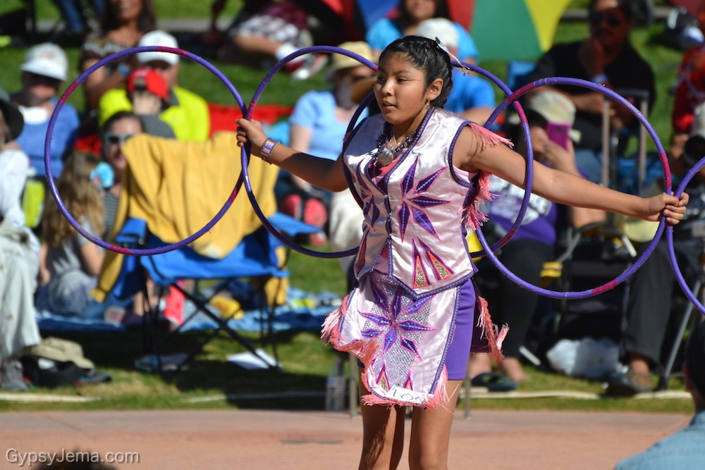 Girl with purple hoops at World Championship Hoop Dance Contest