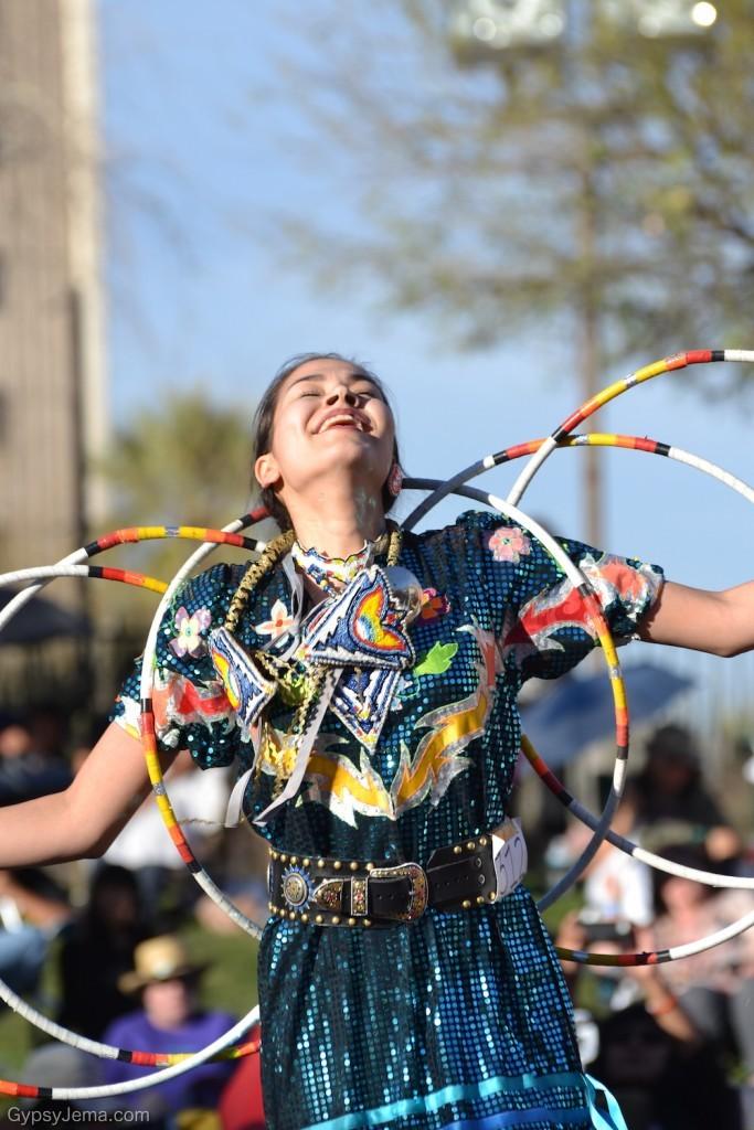 Joy while hoop dancing at Heard Museum in Phoenix, Arizona