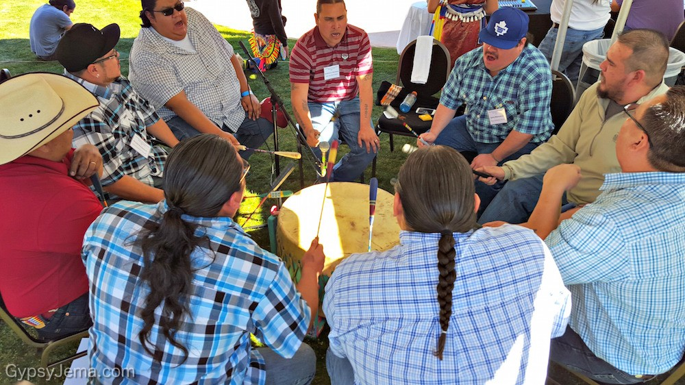 Native drum circle for hoop dancing