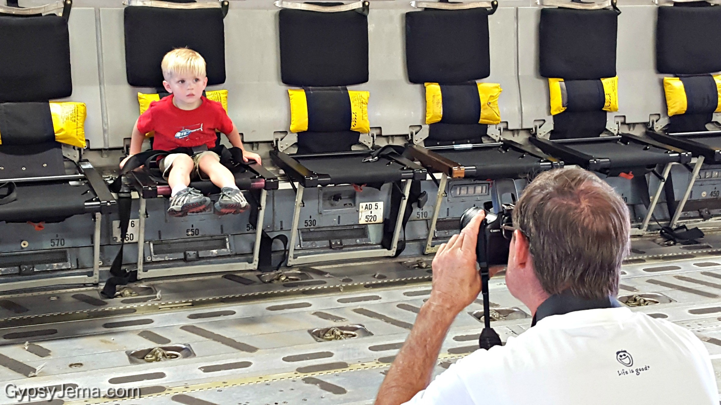 Little boy buckled in the C-17 GlobeMaster III at Barksdale Air Force Base in Shreveport, LA.