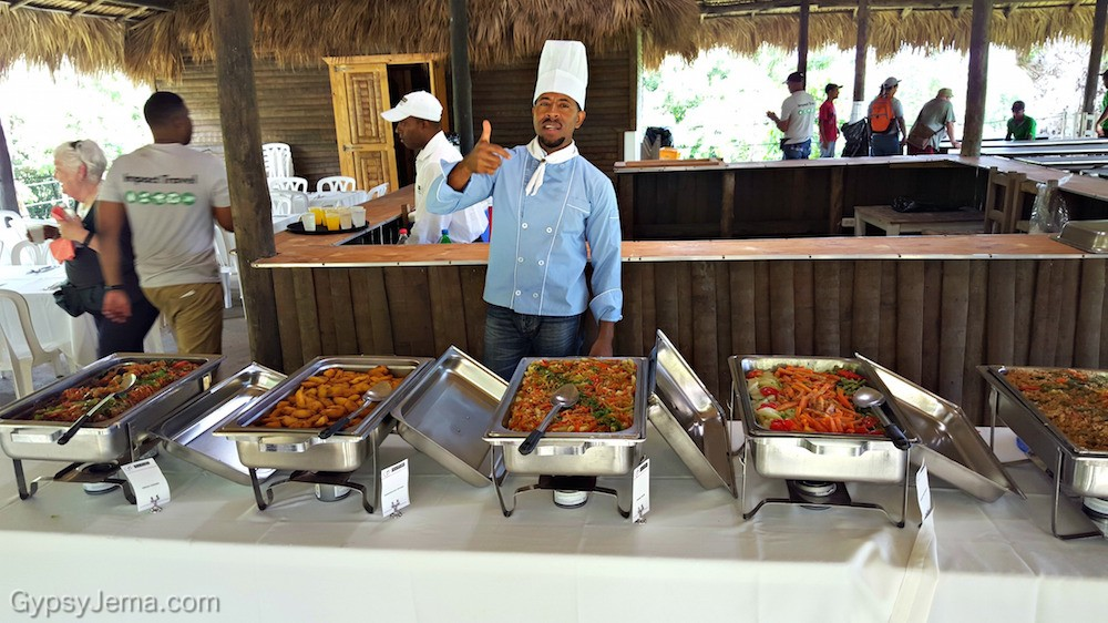 Chef with buffet lunch after reforestation project in the Domincan Republic