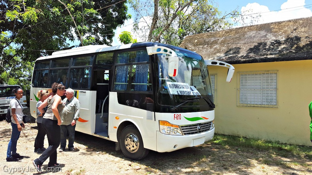 The bus we took to the reforestation impact activity with Fathom