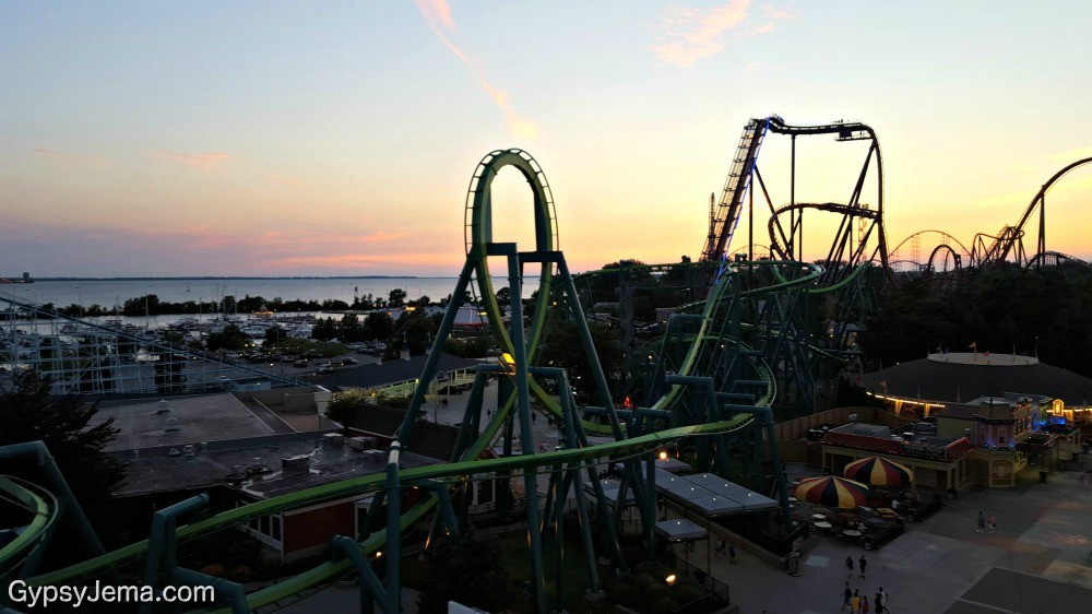 Cedar Point Amusement Park at Sunset